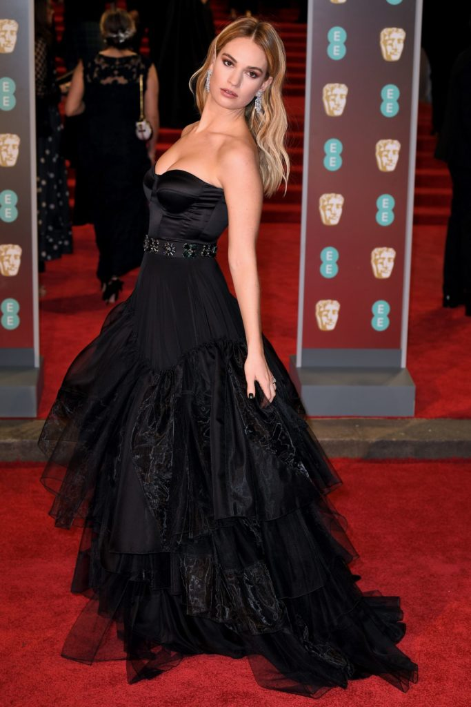 Lily-James-In-Black-Gown-Pics