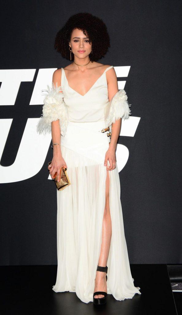 Nathalie Emmanuel In White Dress Pictures
